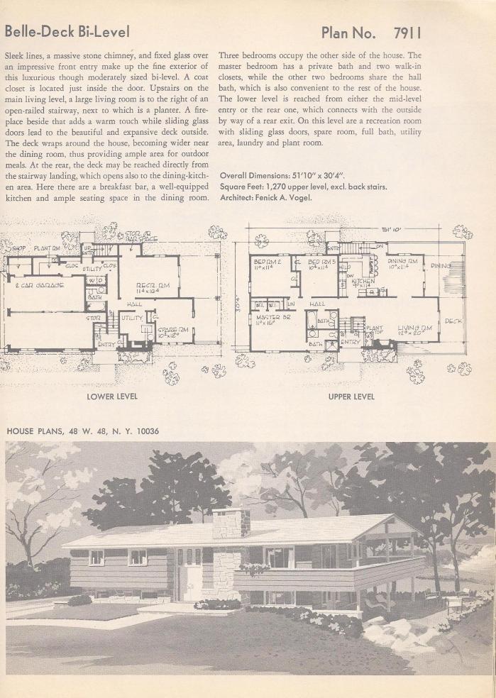 Vintage House plans  Bi-level
