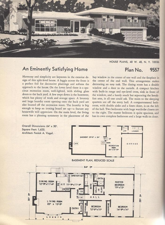 Tiny Home Designs: Vintage House Plans: Angled Ranch, Center H, Two-Story And