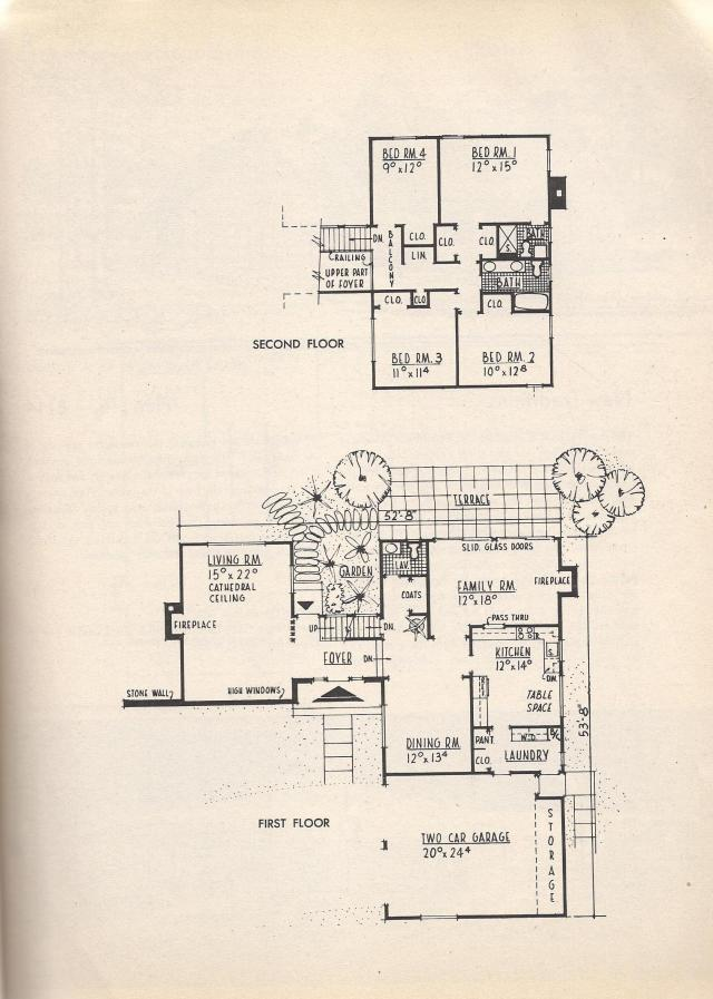 Vintage house plans angled ranch center h two story and Early american home plans