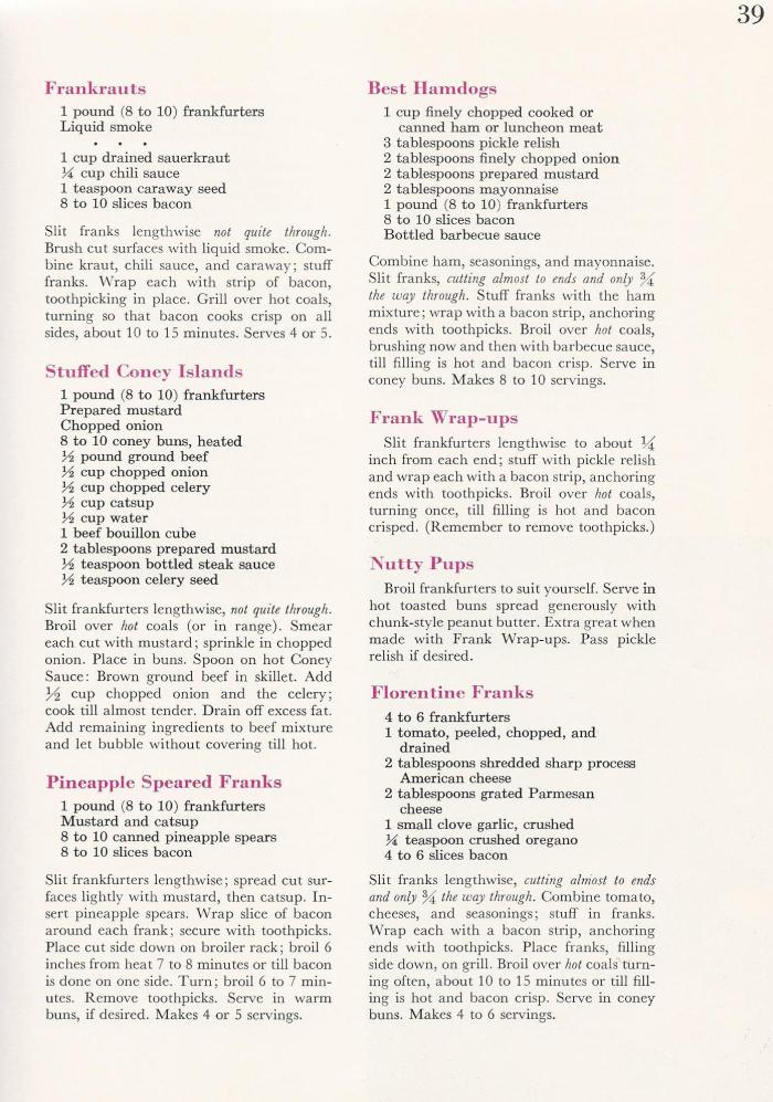Vintage BBQ Barbecue Recipes Franks