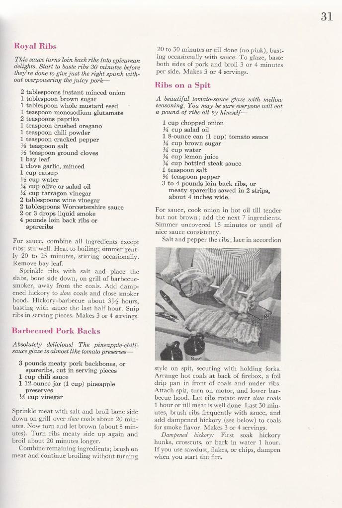Vintage BBQ Barbecue Recipes Ribs
