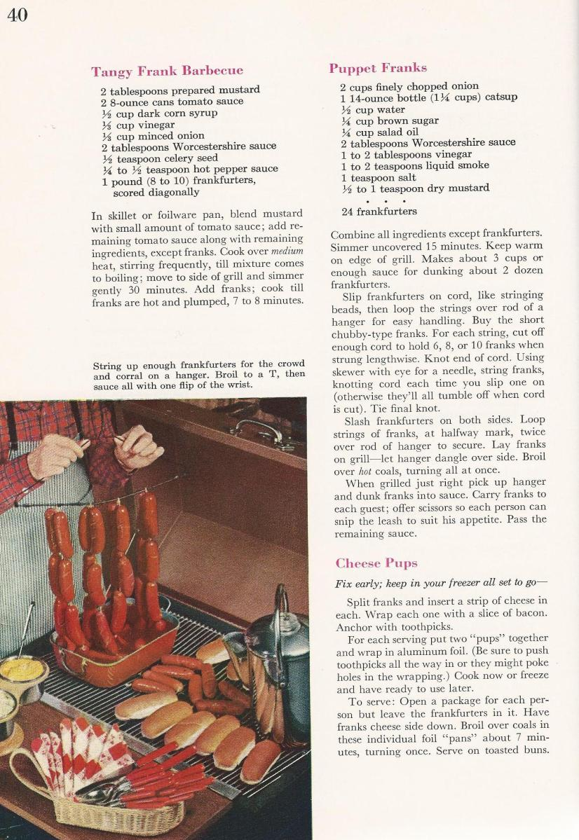 Vintage BBQ Barbecue Recipes Franks