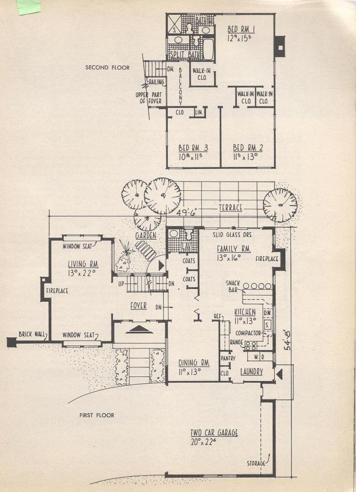 Vintage house plans extended a frame practical for Extended family house plans