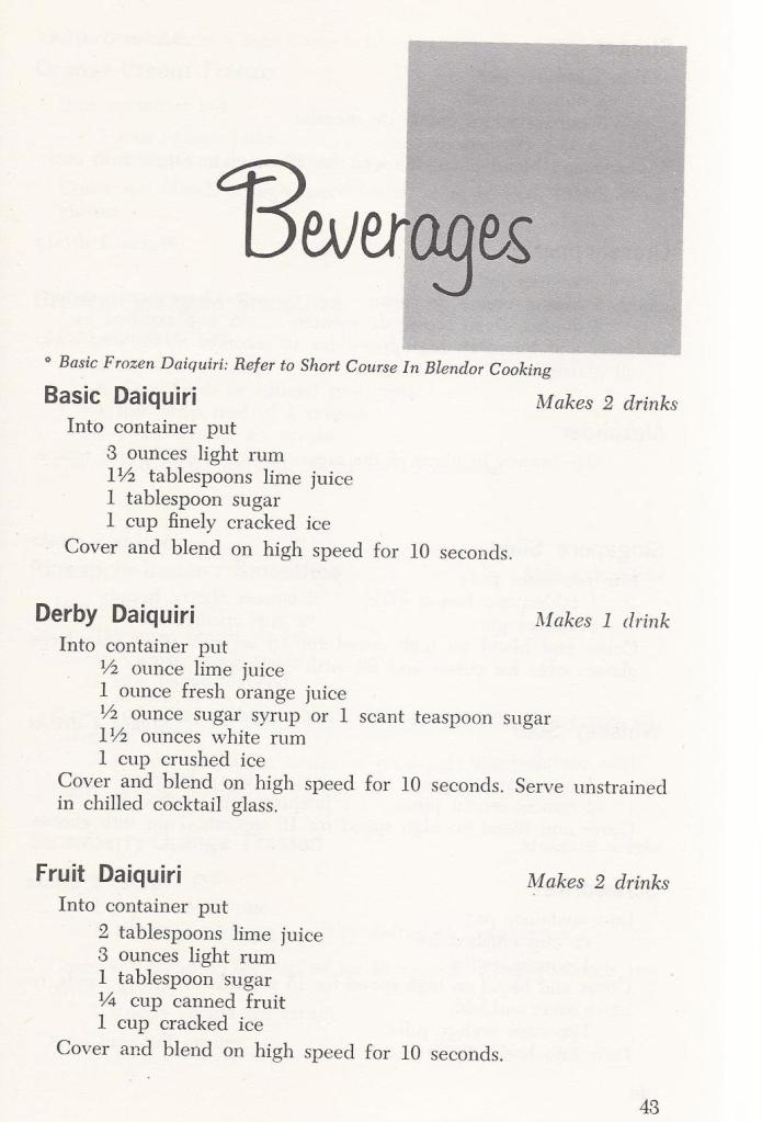 Vintage Beverage / Drink Recipes 1960s