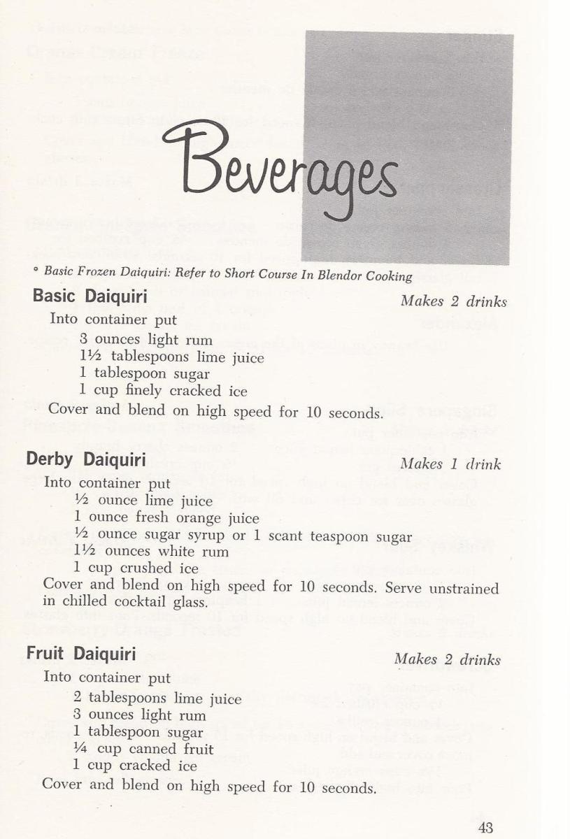 Vintage Beverage / Drink Recipes 1960s