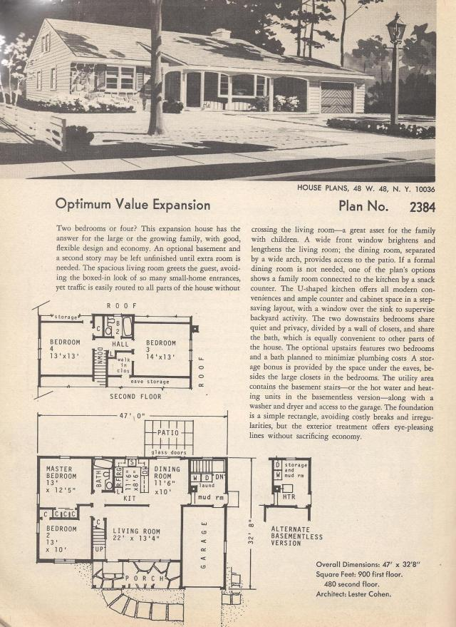 Vintage House Plans Huge Mid Century Modern 4 Bedroom