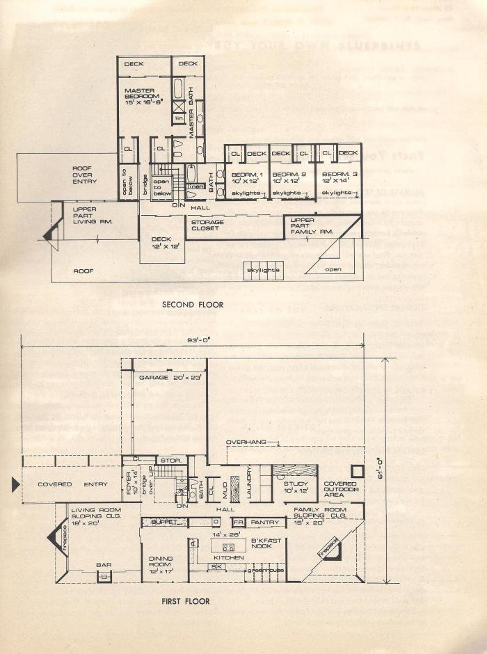 vintage house plans: huge mid century modern, 4 bedroom, split