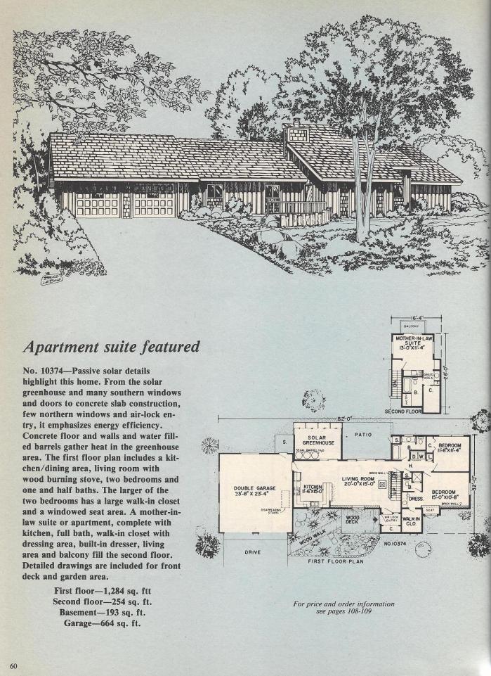 Vintage House Plans: Passive Solar, Sunken Living Room, Octagon ...