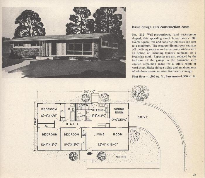 Vintage House Plans: Brick Front, Cathedral Ceilings