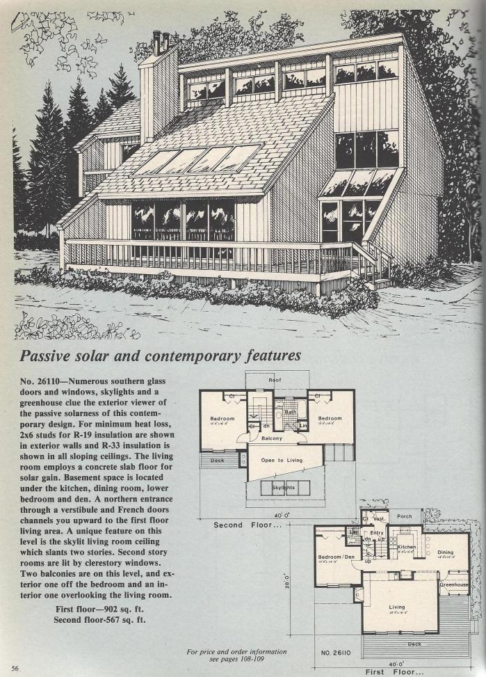 Vintage house plans passive solar sunken living room for Solar house plans