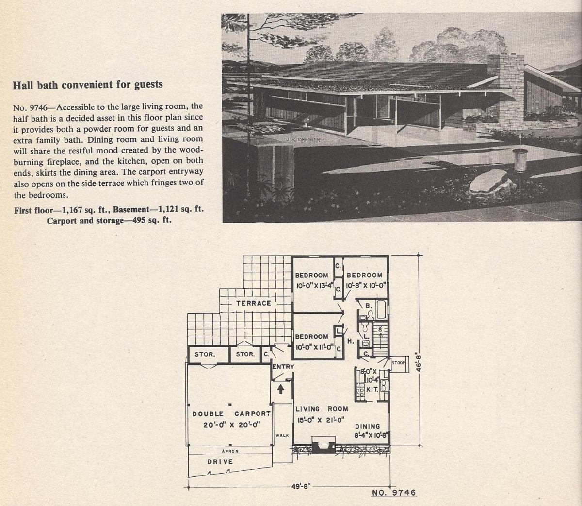 Vintage House Plans, Hall Bath