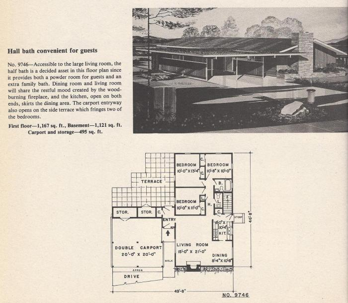 Vintage House Plans, Hall Bath