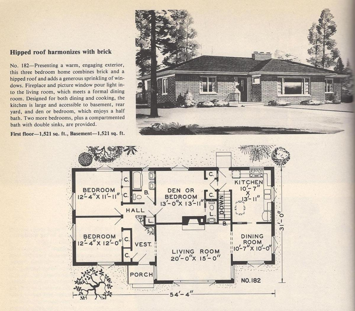 Vintage House Plans, Hipped Roof and Bricks