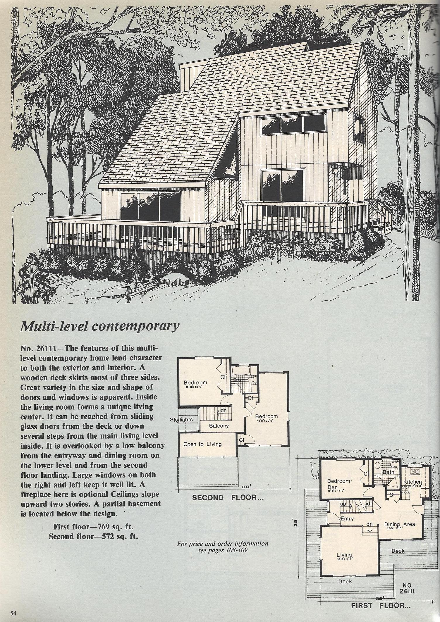 Vintage House Plans Passive Solar Sunken Living Room