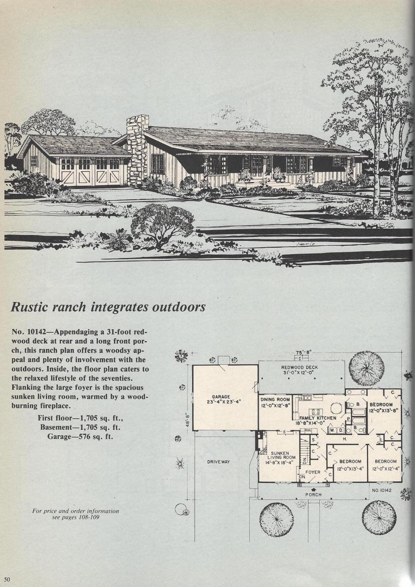 Vintage House Plans, Rustic Ranch