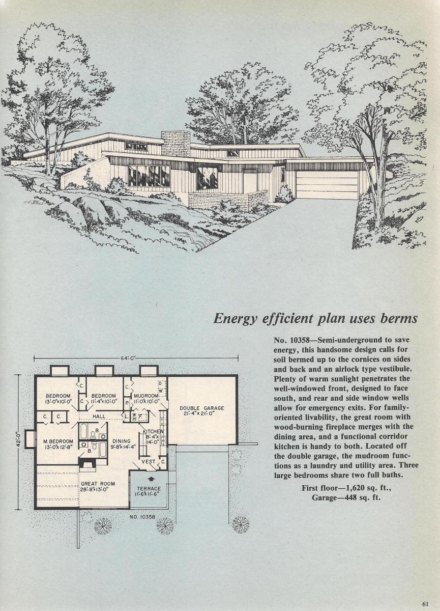 Vintage House Plans, Semi-Underground