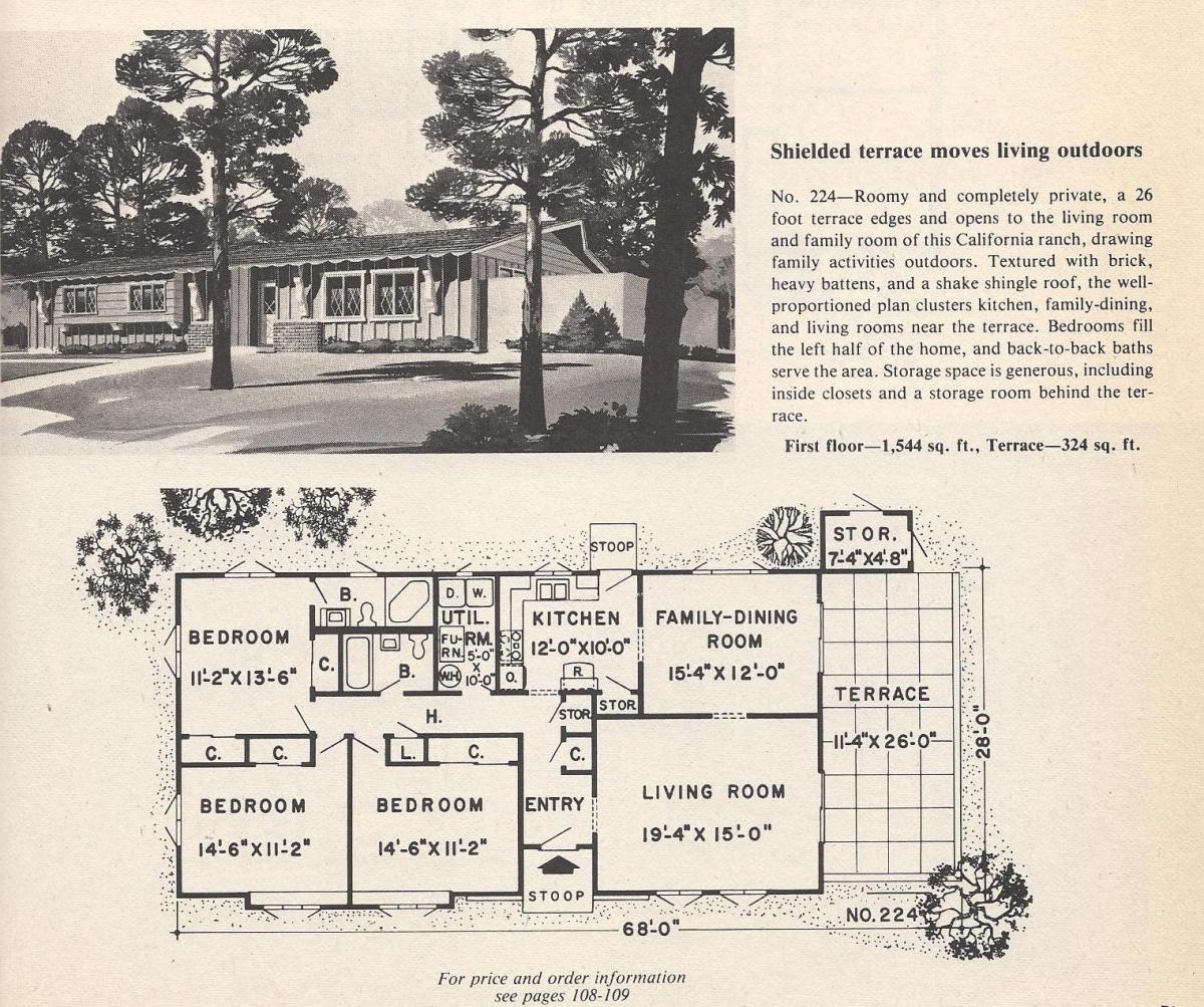 Vintage House Plans, Shielded Terrace