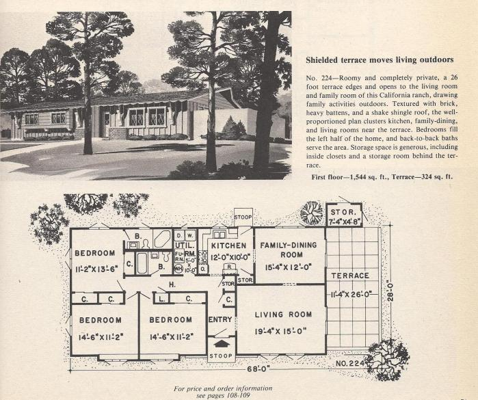 Vintage House Plans, Shielded Terrace