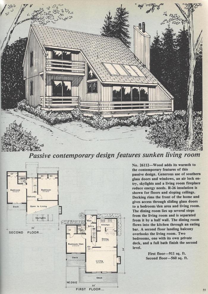 Vintage House Plans, Sunken Living Room