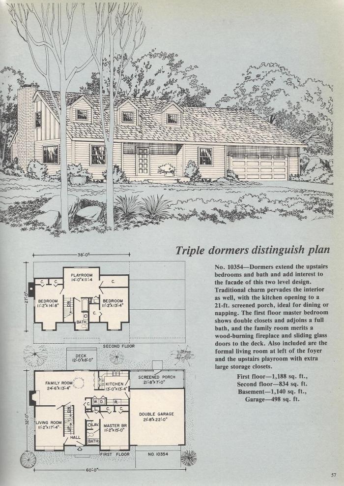Vintage House Plans, Triple Dormers