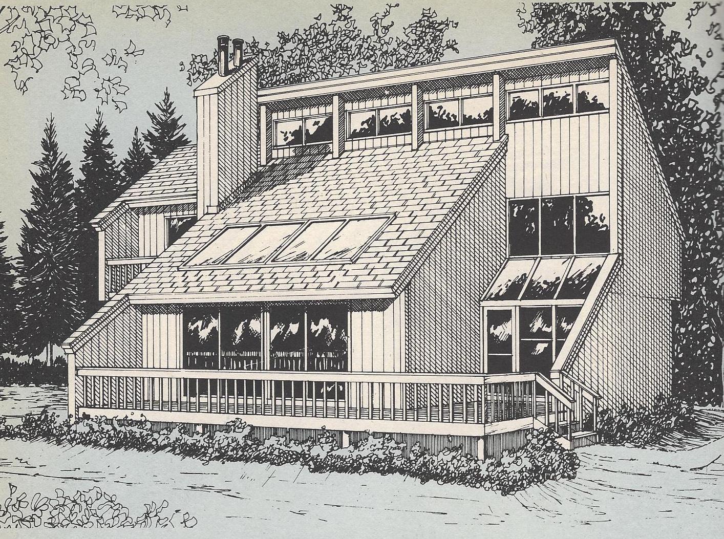Vintage house plans passive solar sunken living room for Solar house plans