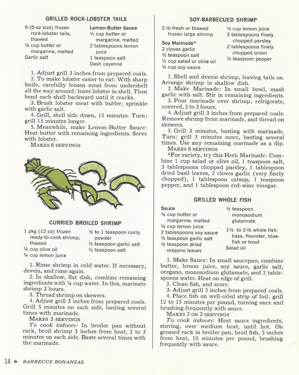 Vintage Recipes, 1965, Lobster and Shrimp