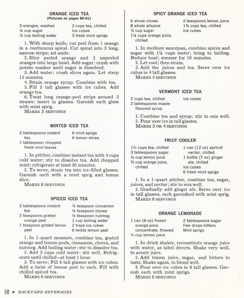 Vintage Recipes, 1965, Teas