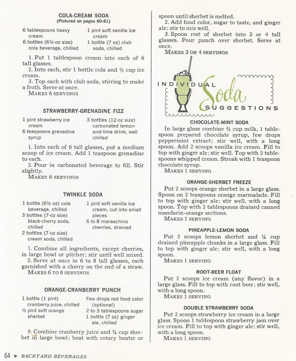 Vintage Recipes, 1965, Sodas
