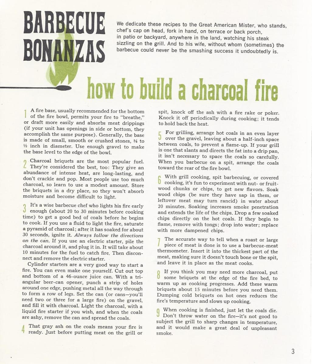 Vintage Recipes, 1965, How to Build a Charcoal Fire