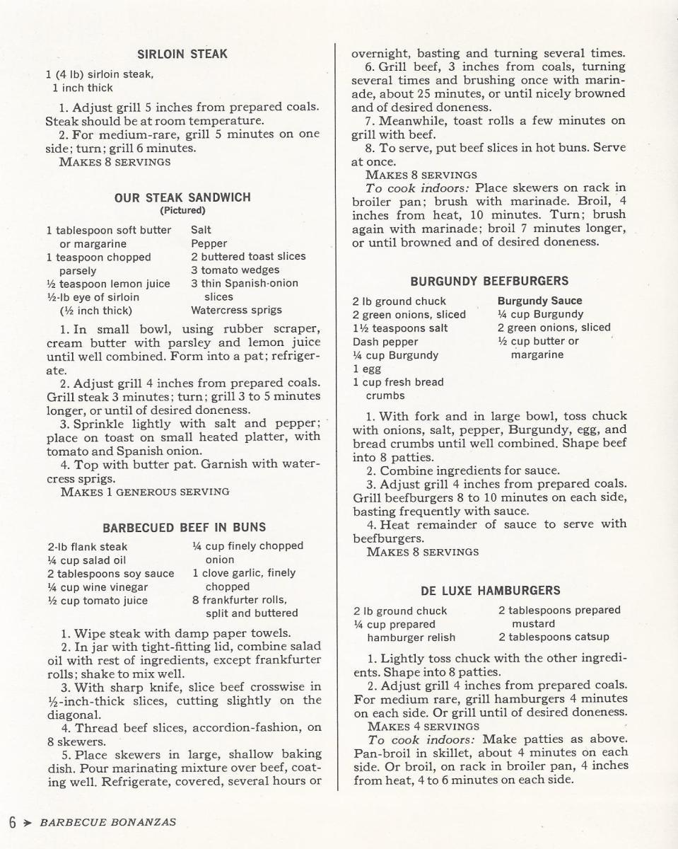 Vintage Recipes, 1965, BBQ Steak