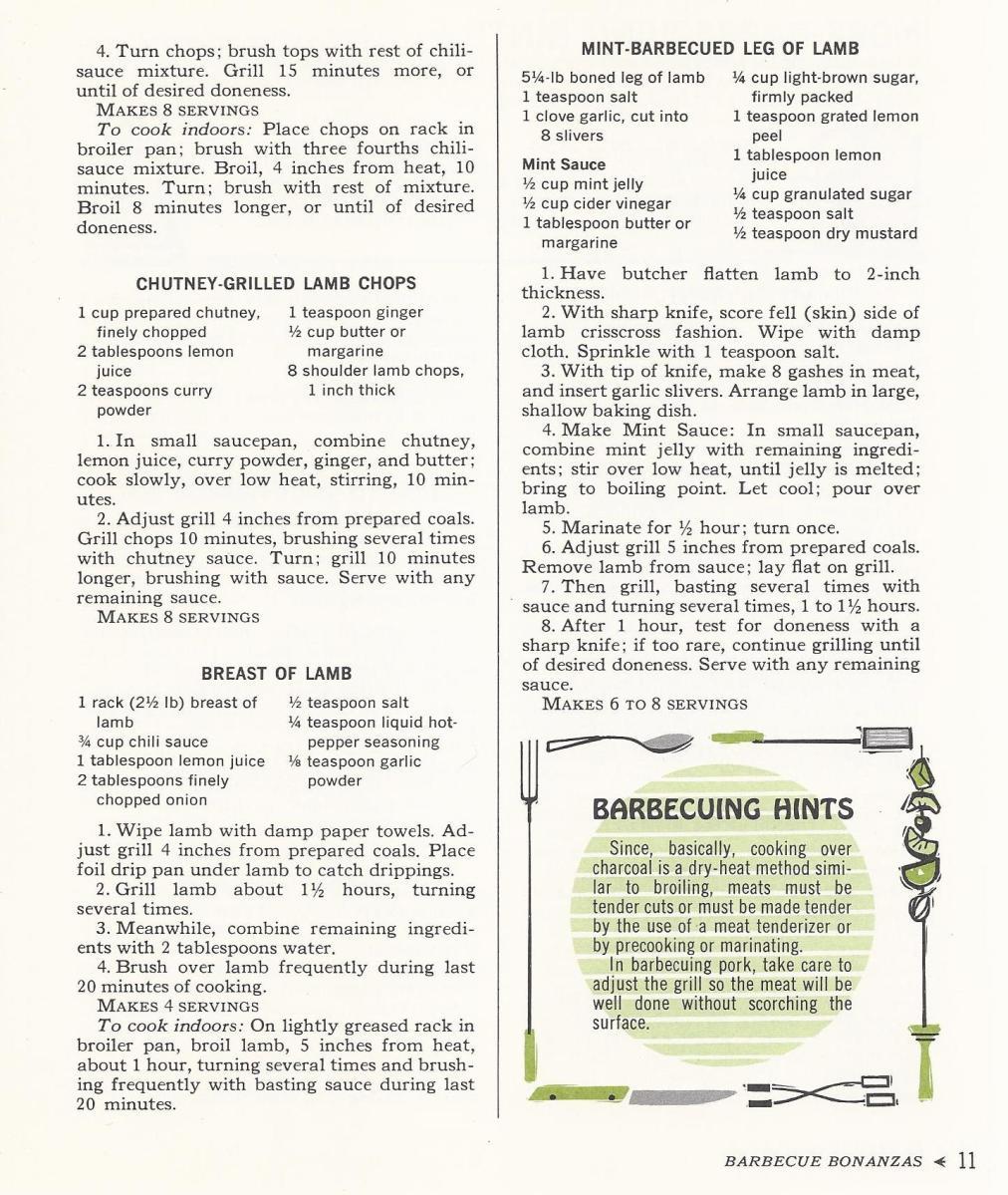 Vintage Recipes, 1965, Lamb