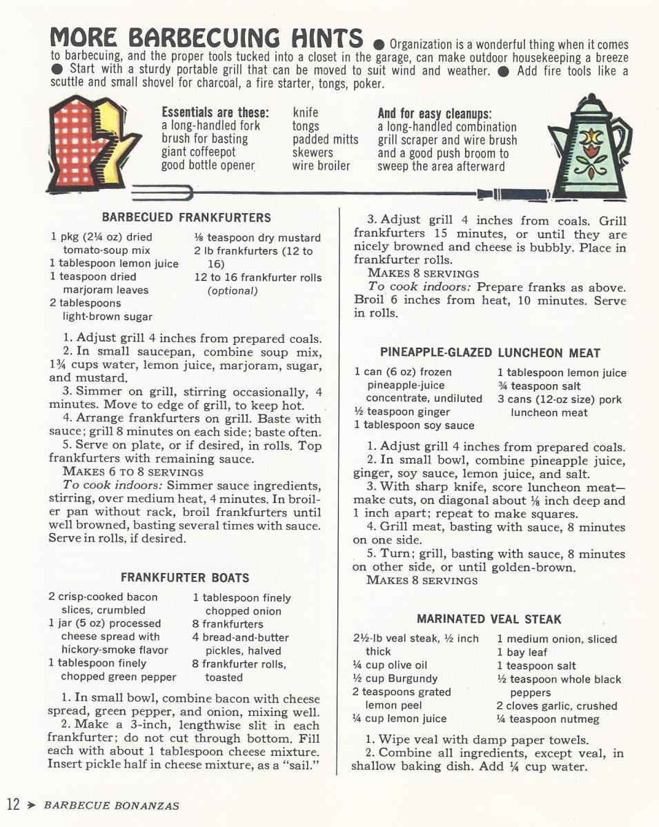 Vintage Recipes, 1965, BBQ Hints