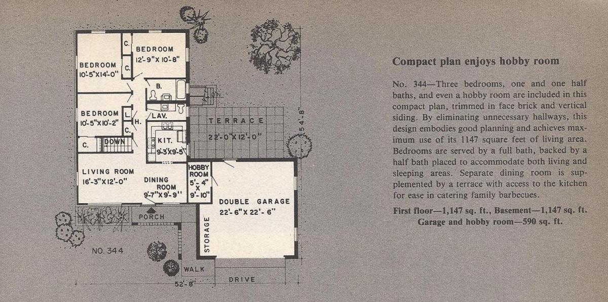 Vintage House Plans , Hobby Room