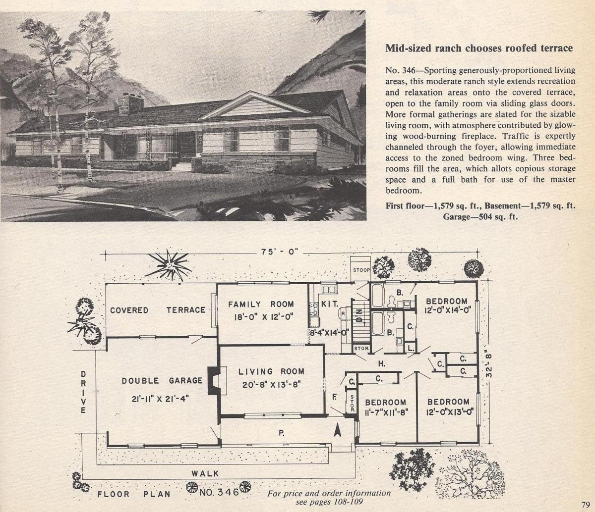Vintage House Plans , Mid-Sized Ranch