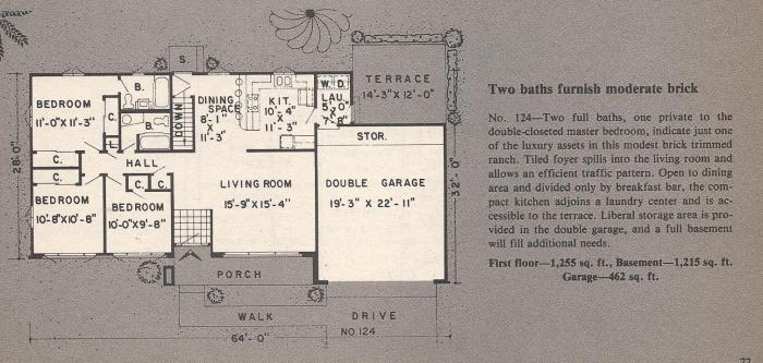 Vintage House Plans , Two Bathrooms