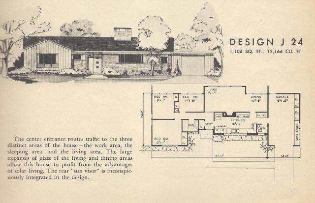 Vintage house plans 1954 mid century modest antique for Modest home plans