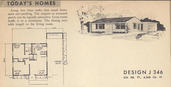 Vintage House Plans 1954 Mid Century Modest Antique
