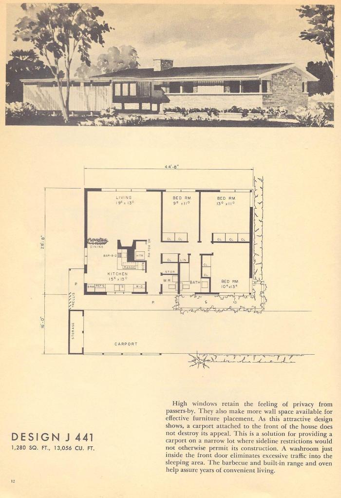 Vintage House Plans, Mid Century House Plans