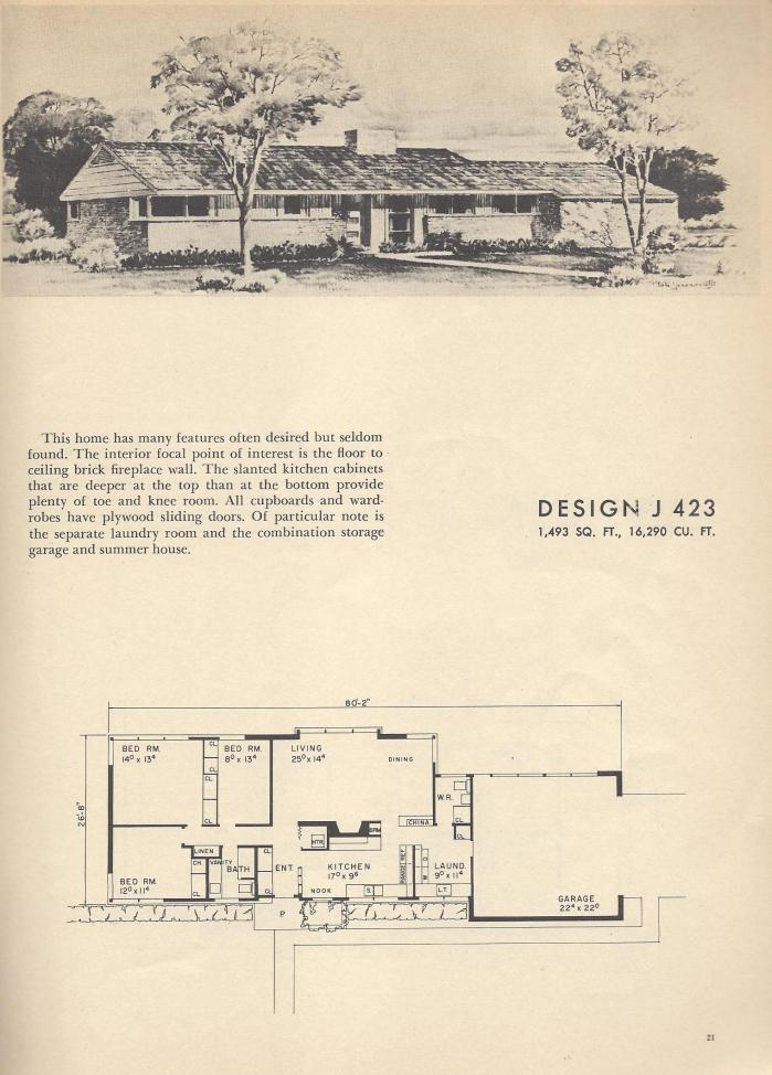 Vintage House Plans, Vintage Home Plans, 1954 Homes