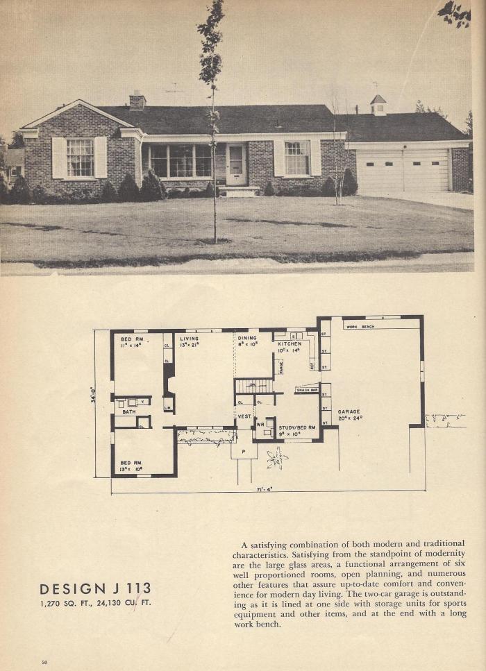 Vintage House Plans 1954 Plans Of Houses That Were Built