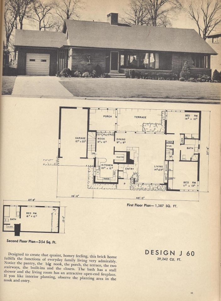 J60 Vintage House Plans Mid Century House Plans 1954 Homes Antique Alter Ego