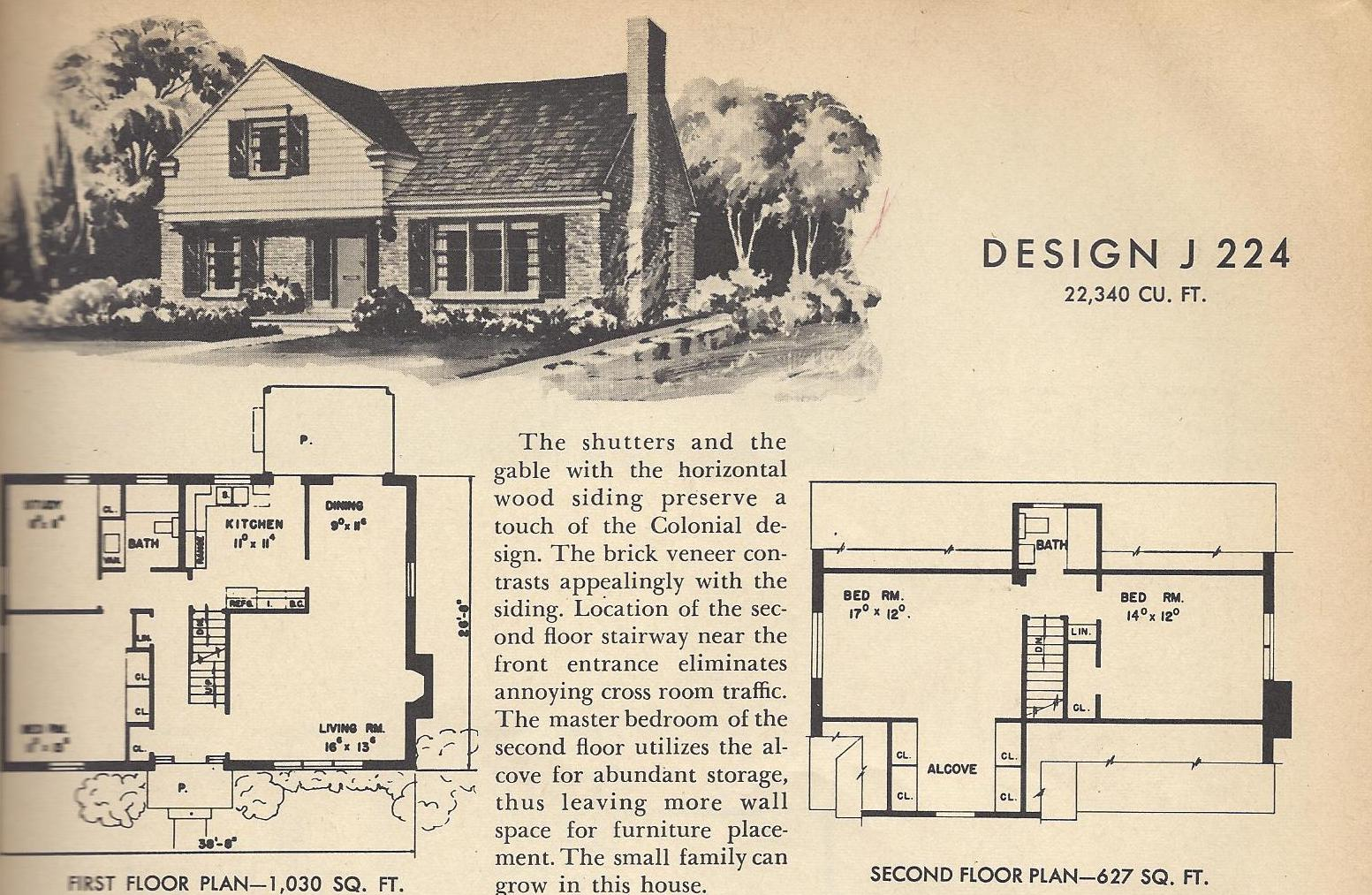 Vintage house plans j224 antique alter ego for Vintage home plans