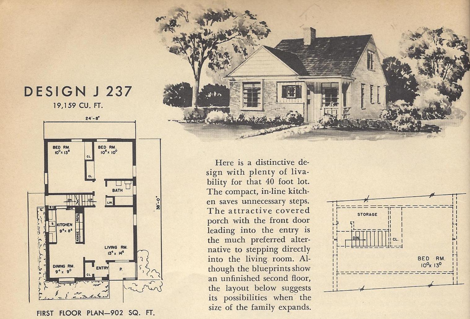Vintage house plans j237 antique alter ego for Vintage home plans