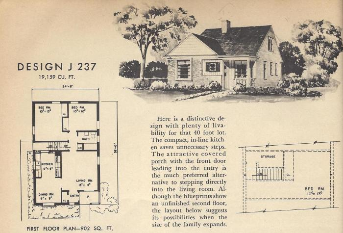 Vintage House Plans, 1954, Mid Century Homes
