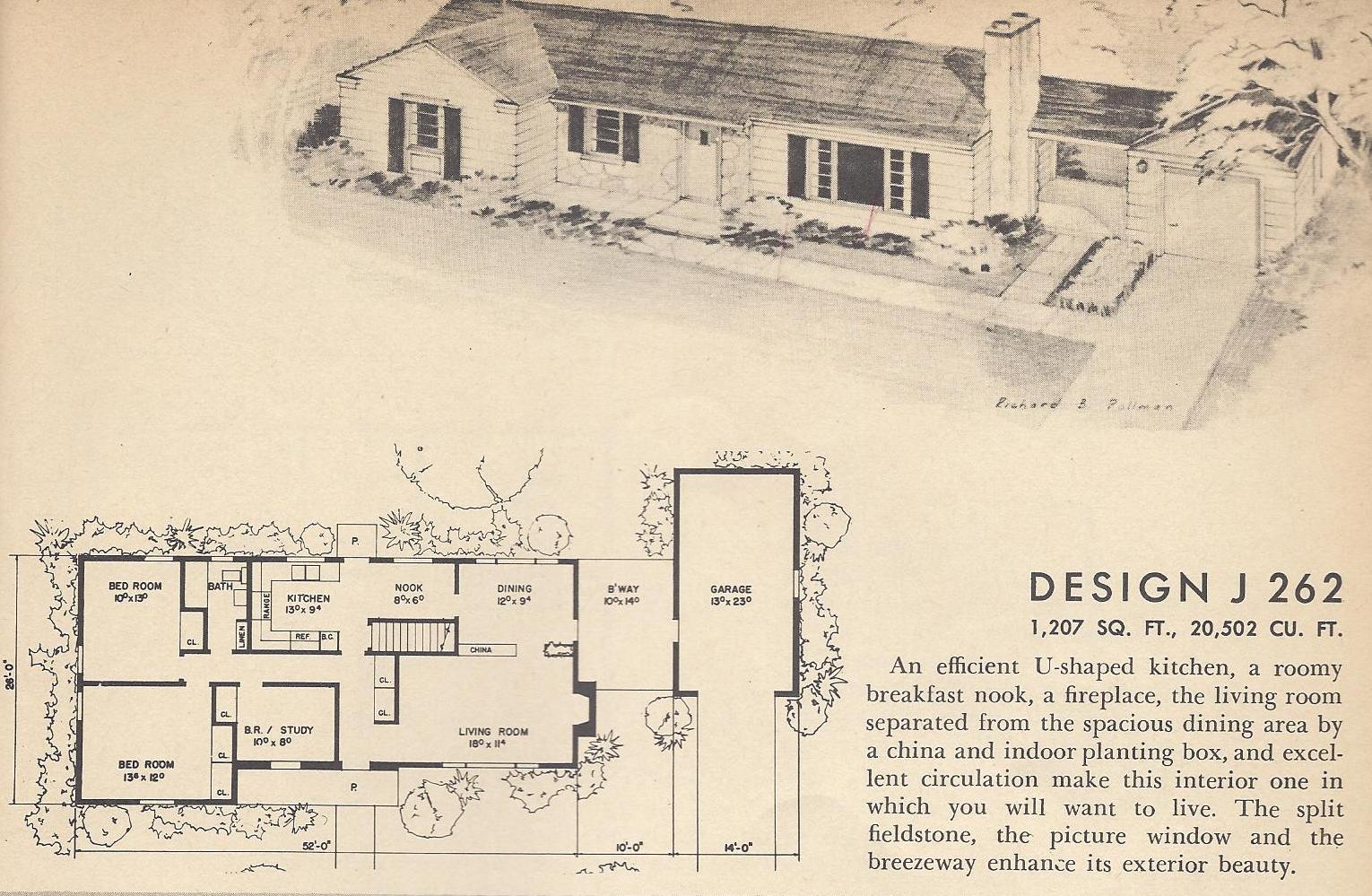 Vintage house plans 1954 houses of distinction antique for Retro home designs