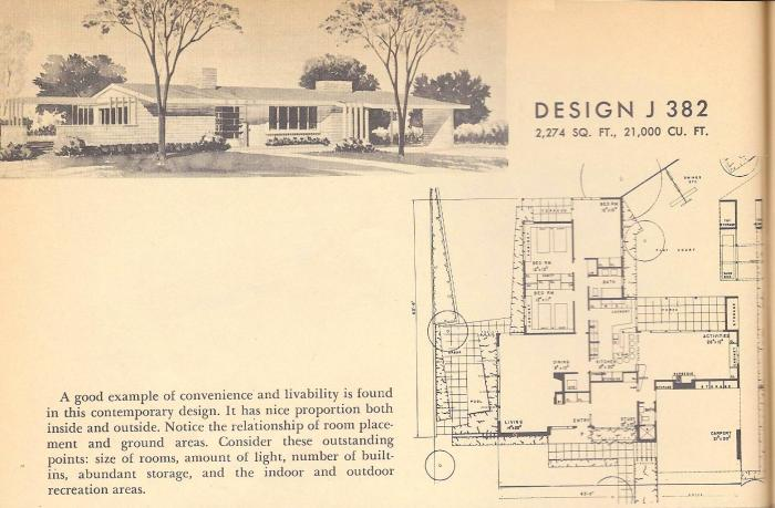Vintage House Plans, 1954 Homes, Mid Century Houses