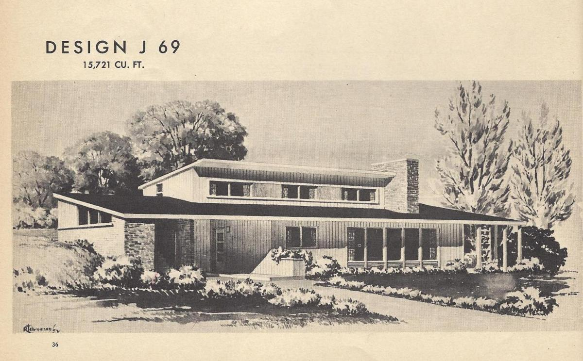 Vintage House Plans, 1954, Mid Century Homes