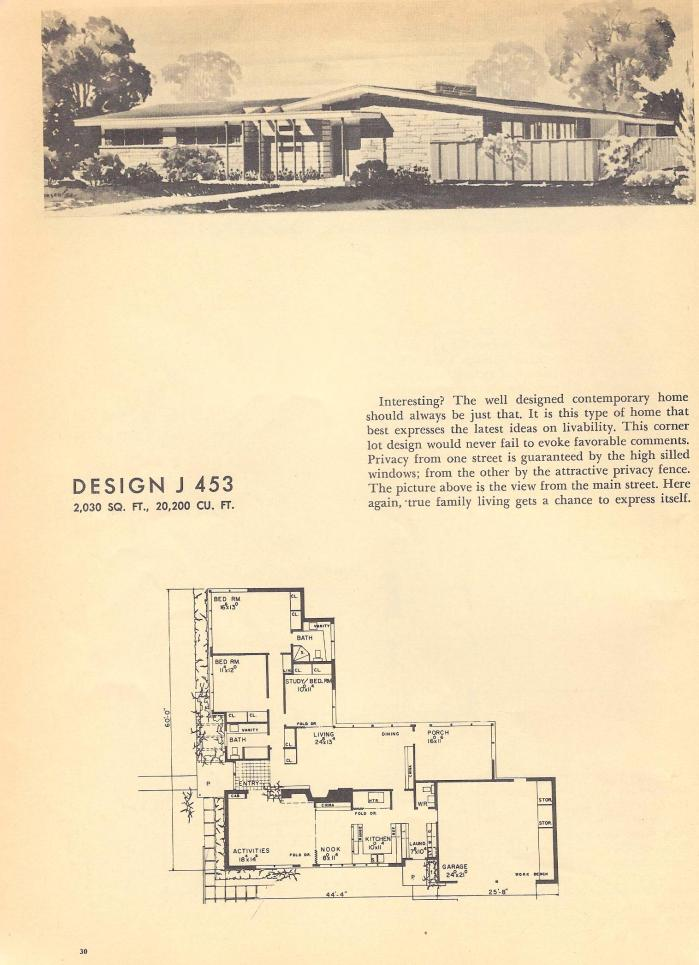 Vintage House Plans, Mid Century House Plans, 1954 Homes