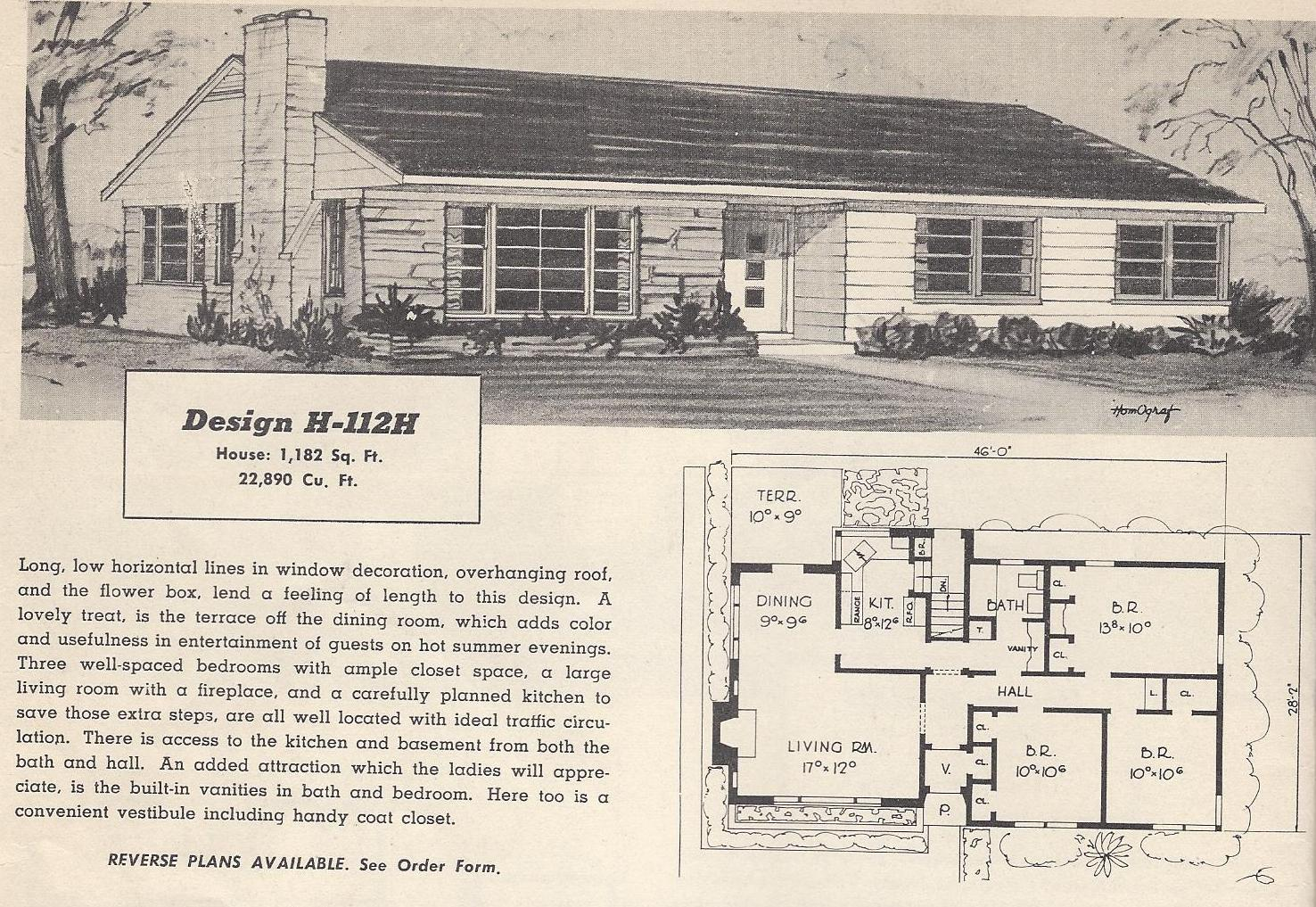 Vintage house plans 112h antique alter ego for Vintage ranch house plans