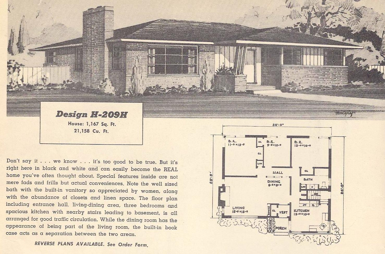 Vintage house plans 209h antique alter ego for Vintage ranch house plans